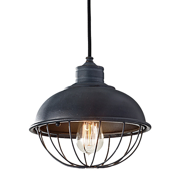 Rounded Iron Cage Bowl Pendant Barn Light Electric