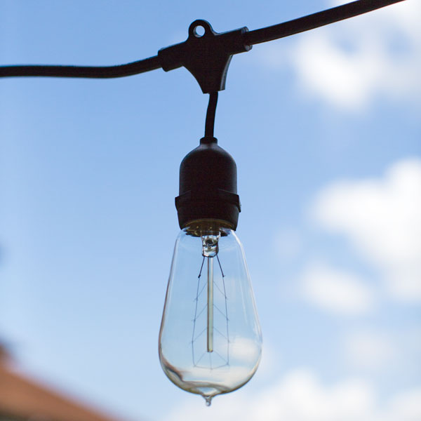 Outdoor cafe string lights barn light electric caf string lights 1890 era 40w edison style bulb aloadofball Image collections