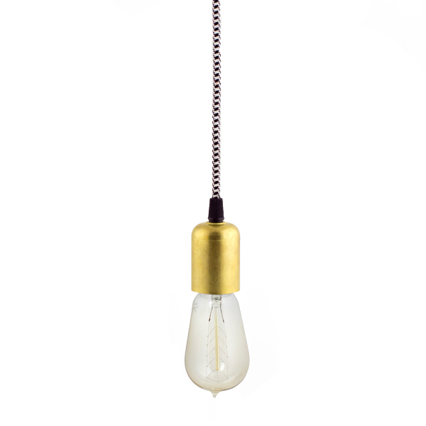 Downtown minimalist cord pendant drop light barn light electric the downtown minimalist cord pendant 903 unfinished brass csbw black white aloadofball Image collections