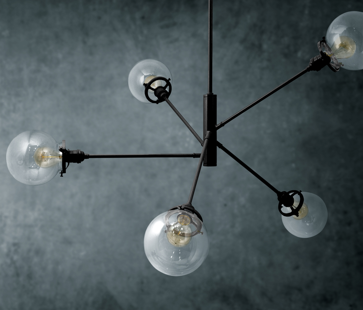 The bubble 5 light chandelier barn light electric the bubble 5 light chandelier 100 black clear globes arubaitofo Image collections