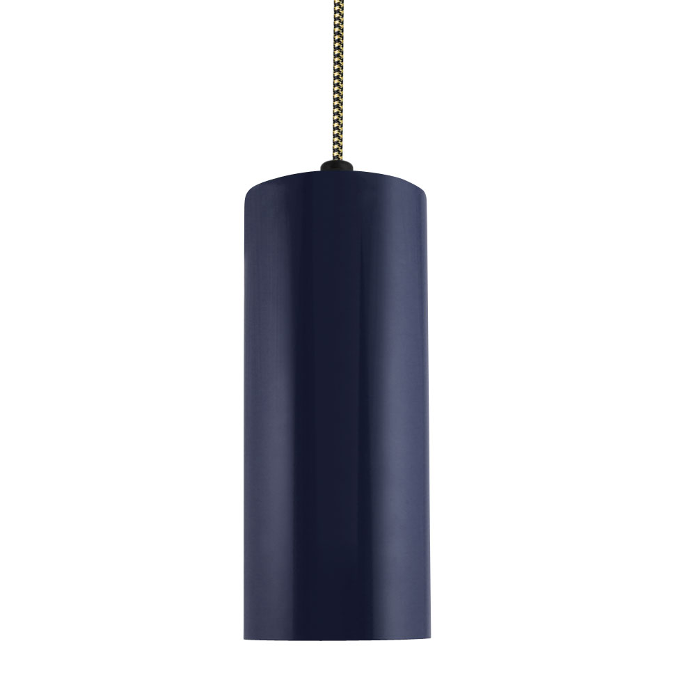 The venice cylinder cord hung led pendant barn light electric venice led pendant 705 navy csbg black gold cloth cord arubaitofo Image collections