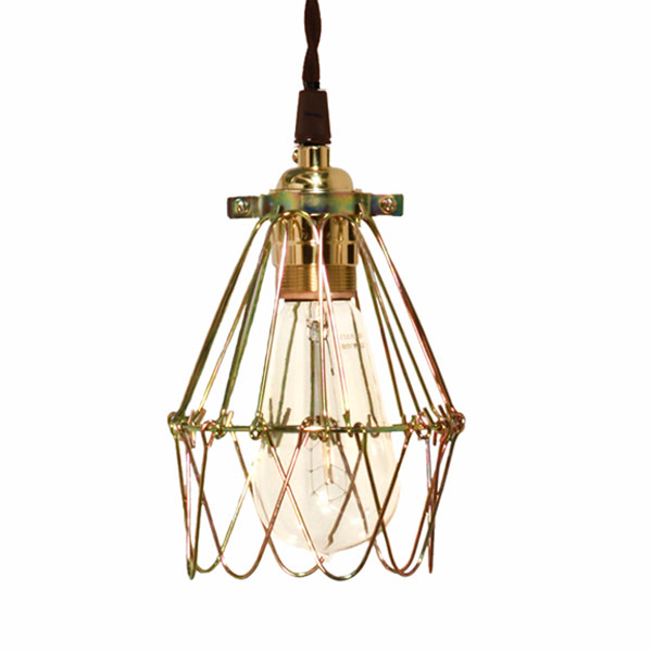 Minimalist Polished Brass Cage Pendant | Barn Light Electric