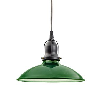 "10"" Benjamin Industrial Pendant, With Arms, Emerald, Cup 100-Black, SBK-Black Cord Hung"