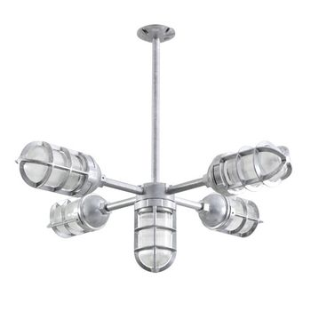 The Apollo 5-Light Chandelier, 975-Galvanized, TGG-Heavy Duty Cast Guard, RIB-Ribbed Glass