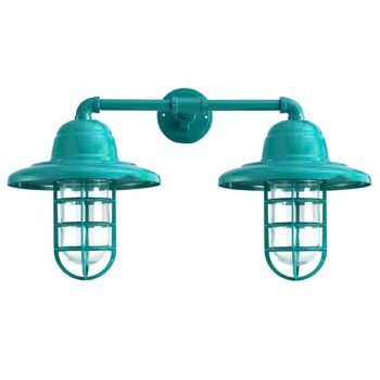 Double Market Industrial Guard Sconce, 390-Teal, WH-Warehouse Shade, CGG-Standard Cast Guard, CLR-Clear Glass
