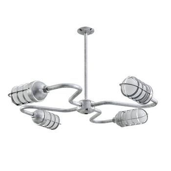 Orbiter 4-Light Chandelier, 975-Galvanized Finish, CGG-Standard Cast Guard, FST-Frosted Glass