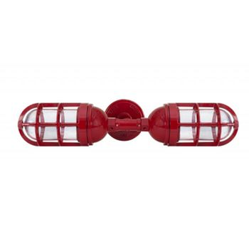 Atomic Topless Double Industrial Guard Sconce, 400-Barn Red, TGG-Heavy Duty Cast Guard, CLR-Clear Glass