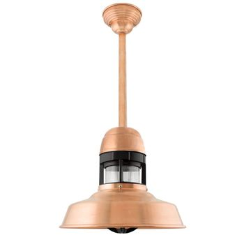 "12"" Sydney Stem Mount Pendant, 995-Raw Copper Finish, 12"" Stem in 995-Raw Copper, With Cap, Standard Canopy, Decorative Copper Canopy Cover, 100-Black Guard Finish, RIB-Ribbed Glass"