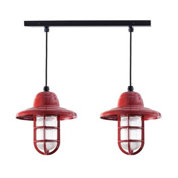 The Insider 2-Light Chandelier, Canopy in 100-Black, Fixture in 400-Barn Red, Warehouse Shade, TGG-Heavy Duty Cast Guard, RIB-Ribbed Glass