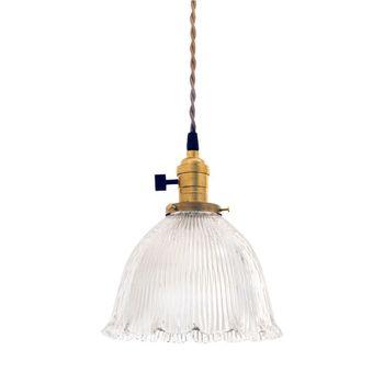 Vintage Holophane Ruffled Bell Pendant