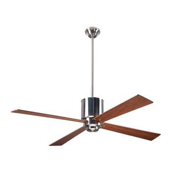 Lapa Ceiling Fan, Bright Nickel, Mahogany Blades