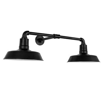 "The Dual Arm Warehouse Sign Light, 14"" Shades, 12"" Arm, 100-Black"