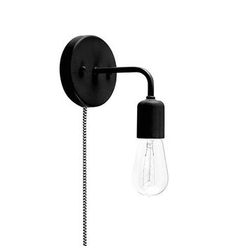 Downtown Minimalist Plug-In Sconce, 100-Black, CSBW-Black & White Cloth Cord, 1890 Era 40w Edison-Style Bulb