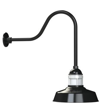 "12"" Sydney, 100-Black with 200-White Guard, No Cap, FST-Frosted Glass, G24 Gooseneck Arm"