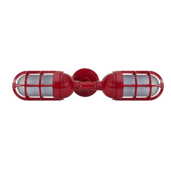 Atomic Topless Double Industrial Guard Sconce, 400-Barn Red | TGG-Heavy Duty Cast Guard, SMK-Smoke Crackle Glass