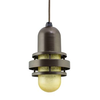 The Brewster LED Pendant, 600-Bronze, HCR-Honey Crackle Glass, CSBB-Black & Brown Cloth Cord
