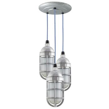 3-Light Atomic Topless LED Chandelier, 975-Galvanized, TGG-Heavy Duty Cast Guard, CSUW-Blue & White Cloth Cord, Frosted Glass