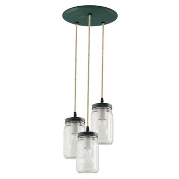 3-Light Ball Jar Chandelier, 300-Dark Green, CSGW - Gold & White Cloth Cord, 25W Victorian Edison Bulbs