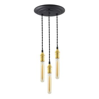 3-Light Raw Brass Chandelier, Canopy in 100-Black, TBK-Black Cotton Twist Cord, 30W Hairpin Edison Bulbs