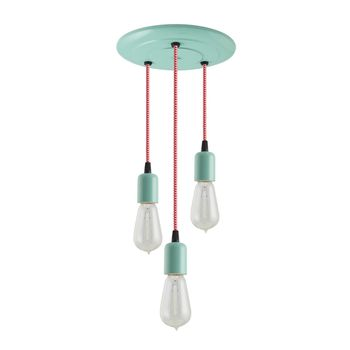 3-Light Downtown Minimalist Chandelier, 311-Jadite, CRZ-Red Chevron Cord, 1890 Era 40W Edison Bulbs