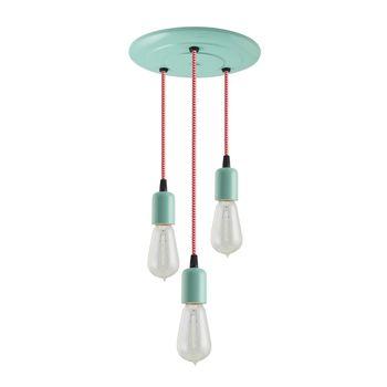 3-Light Downtown Minimalist Chandelier, 311-Jadite, CRZ-Red Chevron Cord, 1890 Era 40W Edison Bulbs