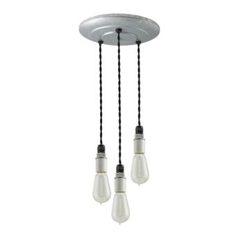 3-Light Indy Porcelain Socket Chandelier, Galvanized Canopy, TBK-Black Cotton Twist Cord, 1890 Era 40w Edison Bulbs