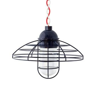 """16"""" Blue Collar LED, 705-Navy, Chain in 200-White, CSR-Red Cloth Cord, RIB-Ribbed Glass"""