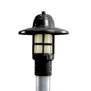 Atomic LED Industrial Guard Post Mount, 100-Black, HCR-Honey Crackle Glass, Smooth Direct Burial Pole, 975-Galvanized