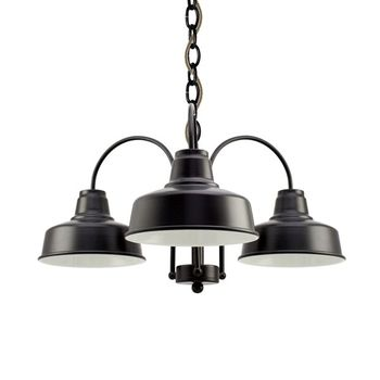 The Calico 3-Light Chandelier, 100-Black, CSBB-Black & Brown Cloth Cord