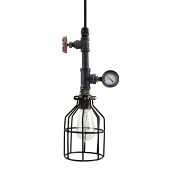 Verne Machine Age Pendant, With Wire Cage, Edison Style 1890 Era Bulb