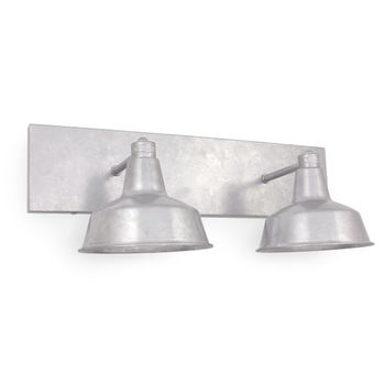 Austin Double Straight Arm Vanity Light, 975-Galvanized