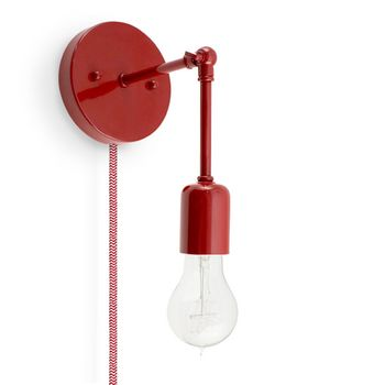 The Downtown Minimalist Knuckled Plug-In Sconce, 400-Barn Red, CRZ-Red Chevron Cord, Nostalgic Edison-Style Victorian 25W Bulb