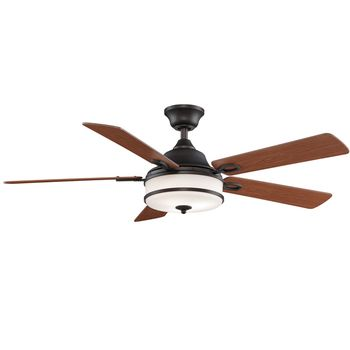 Soloman Ceiling Fan, Dark Bronze with Reversible Cherry/Dark Walnut Blades, Cherry Side Showing