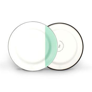 Enamelware Dipped Plates, 355-Jadite