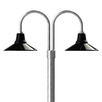 "14"" Aero, 850-Graphite, Double Post Mount, 975-Galvanized, Smooth Direct Burial Pole, 975-Galvanized"
