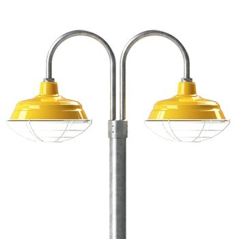 "15"" Bomber, 550-Yellow, Wire Cage, 210-White, Double Post Mount, 975-Galvanized, Smooth Direct Burial Pole, 975-Galvanized"