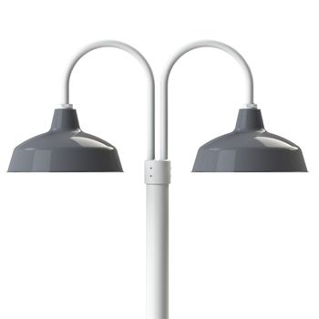 """16"""" Avalon, 850-Graphite, Double Post Mount, 200-White, Smooth Direct Burial Pole, 200-White"""
