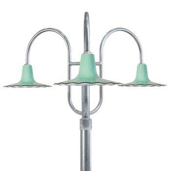 "16"" Seaside, 355-Jadite, 3-Light Post Mount, 975-Galvanized, Smooth Direct Burial Pole, 975-Galvanized"