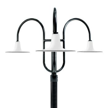 "16"" Sterling, 250-White, 3-Light Post Mount, 100-Black, Smooth Direct Burial Pole, 100-Black"