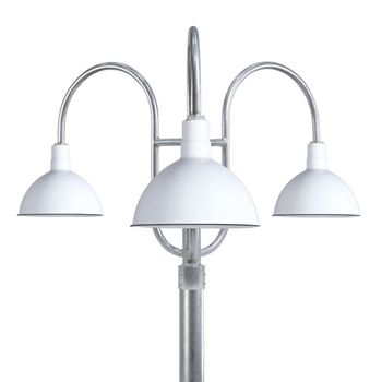 "16"" Wilcox, 250-White, 3-Light Post Mount, 975-Galvanized, Smooth Direct Burial Pole, 975-Galvanized"