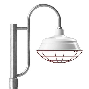 "17"" Bomber Post Mount Light, 250-White, Single Decorative Post Mount Option in 975-Galvanized, Wire Cage in 411-Cherry Red, Smooth Direct Burial Pole in 975-Galvanized"
