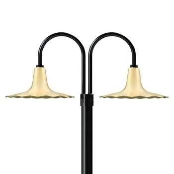 "16"" Seaside, 997-Raw Brass, Double Post Mount, 100-Black, Smooth Direct Burial Pole, 100-Black"