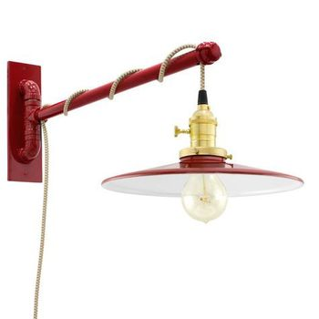 Circle B Swing Arm Sconce, 400-Barn Red, Brass Socket with Knob Switch, Arm in 400-Barn Red, CSGW-Gold & White Cloth Cord, Nostalgic Edison-Style 40W Victorian Bulb
