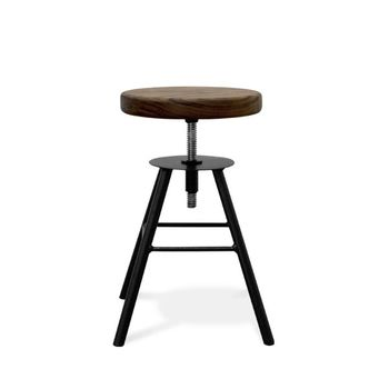 Brooks Adjustable Stool, NW-Natural Walnut, 100-Black