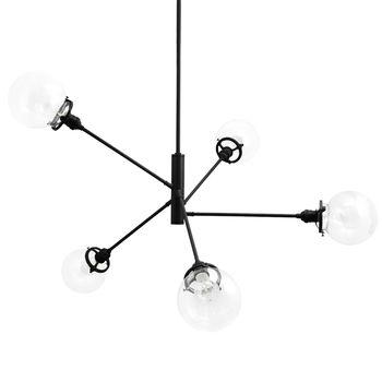 The Bubble 5-Light Chandelier, 100-Black, Clear Globes
