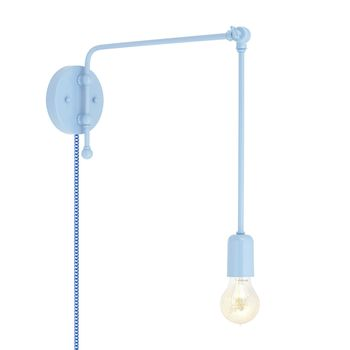 Downtown Swing Arm Sconce, 715-Delphite PTMP, G67 Arm, Downtown Swing Arm Sconce, 311-Jadite, G66 Arm, Nostalgic Edison Style 1890 Era Bulb, CSUW-Blue & White Cloth Cord