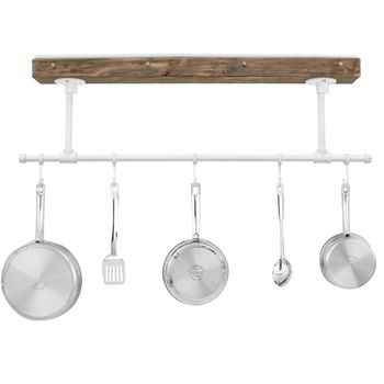 "Julia Hanging Pot Rack, DP-Distressed Pine, 200-White, 5 Hooks, 12"" Stems"