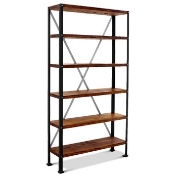 Lincoln Adjustable Bookshelf, MP-Mahogany Pine, 100-Black