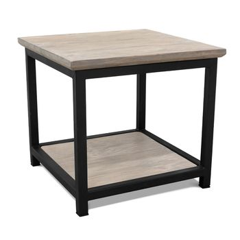 Remy End Table, GWP-Grey Wash Pine, 100-Black