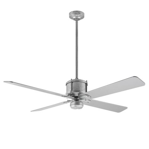 Machine Age Galvanized Ceiling Fan, Silver Blades